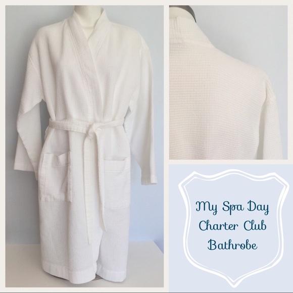 966e6461e4d8 Charter Club Intimates & Sleepwear   Bathrobe 100 Cotton White Spa ...